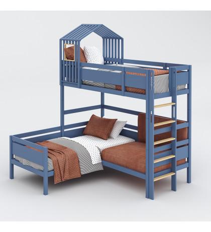 Угловая кровать с домиком и диваном Nest