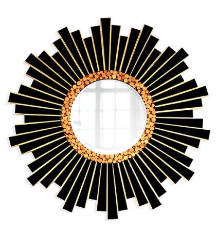 Интерьерное зеркало Black & Wood 80х80